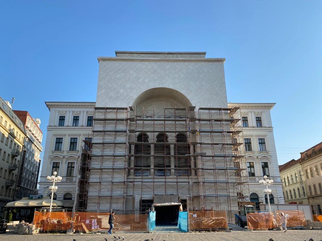 Lucrările la fațada Operei din Timișoara, aproape de final